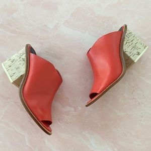 Tibi New York Blane Leather Cork Mules in Red 36.5